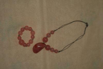 parure rosa bracciale + collana