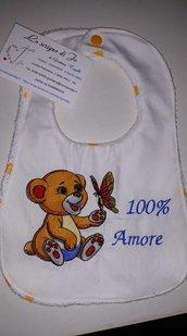 bavaglia con ricamo personalizzato retro in spugna baby regalo utile