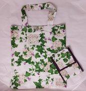 shopper tessuto loneta edera con pochette