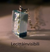 Collana cristallo di vetro  collana di ghiaccio Coòòana vetro fusione  Pendente in argento e vetro