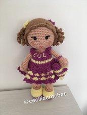 Bambola ALENA amigurumi-Bambola uncinetto-Bambola vestito rosa-Bambola fatta a mano