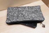 Bustina,Mini pochette da borsa,Astruccio porta tutto, grigio melange,mini bag,borse organizer