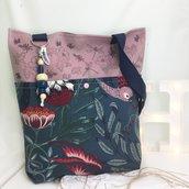 Shopper fantasia foresta e rosa