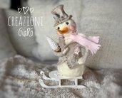 Snowman in lana cardata By Creazioni GiaRó  Ⓒ