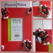 Portafoto in legno rosso con decorazioni in fimo