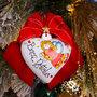 Fiocco in velluto rosso natalizio con cuore in ceramica