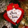 Fiocco natalizio in velluto rosso con cuore in ceramica