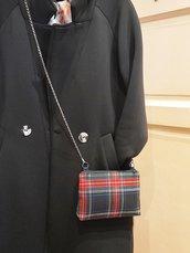 Crossbody bag, mini borsa a tracolla, pochette con catena,tartan