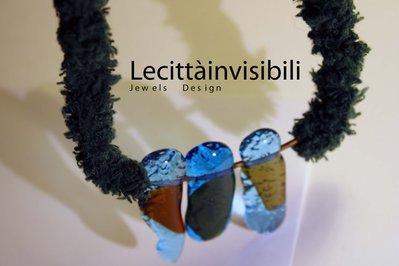 Collana lunga green in vetro veneziano e ottone collana erba e vetro gioiello in vetro Collane vestite