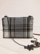 Borsa crossbody, Pochette con catena, Mini borsa tracolla, Bustina stoffa,borsa con catena