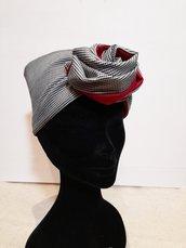 Fascia modellabile ,fascia capelli,fascia elegante reversibile,pied de poule, grigio bordo', fascia capelli invernale