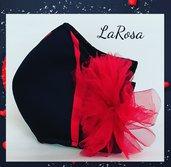 Mascherina moda  nera e rossa