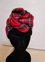 Fascia modellabile reversibile, tartan rosso,fascia turbante