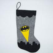 Calza della befana, Batman, 40 X 18 cm, GRATIS un piccolo cadeau