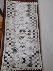 Centrino rettangolare, runner filet uncinetto 50 cm x 25 cm idea regalo