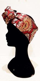 Fascia modellabile broccato rosso oro, fascia turbante,