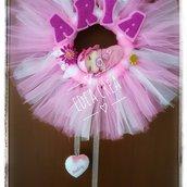 Ghirlanda nascita fiocco rosa