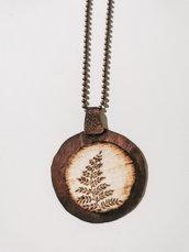 Collana lunga in legno e rame - pirografia