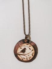 Collana in rame e legno pirografata