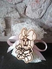 Baby Minnie in legno su doppio velo rete