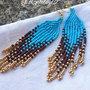 Orecchini con frange, turchese, oro e testa di moro con monachella -Indian Navajo-