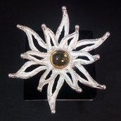 """Anello da donna """"fiore"""" in argento 925 con tormalina gialla fatto a mano A02"""
