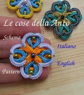 Schema (english, italiano), tutorial fotografico per creare con la tecnica del chiacchierino, sia ad ago che navetta, ciondolo, orecchino quadrifoglio