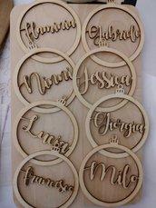 palline traforate in legno con nomi