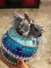Addobbo sfumato blu con renna da appendere