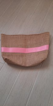 fondo alto in juta con fascia rosa