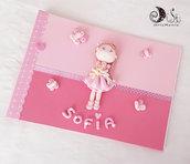 album portafoto bambolina con orsetto e farfalle e nome personalizzato