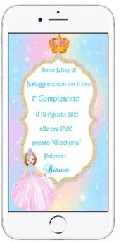 Invito Digitale 1 Anno Principessa 2021 in 12 ore