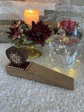 Blocco porta con cuore di legno decorato con mandala