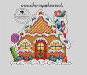 GINGERBREAD HOUSE- schema punto croce casetta di zucchero