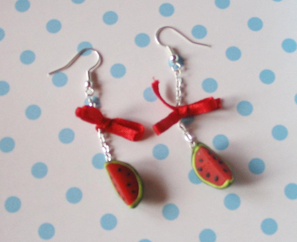 orecchini con angurie