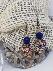 Orecchini Resina blu e Gomitolini
