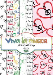 1 KIT DI 6 CARTE SCRAP VIVA LA MUSICA