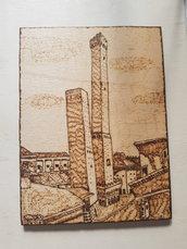 Quadro Pirografato a mano.  Bologna