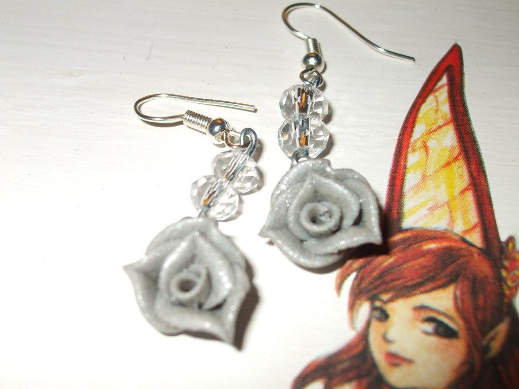 Orecchini rose glitter in fimo cernit