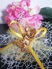 Minnie in legno su doppio velo rete