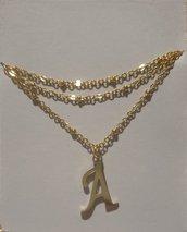 Collana in acciaio inossidabile dorato con lettera A
