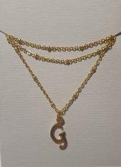 Collanina girocollo in acciaio inossidabile con ciondolo a forma di lettera G
