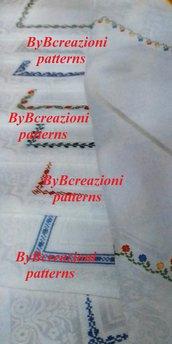 Schema punto croce 8 bordi per tovaglia PDF download cross stitch Italy