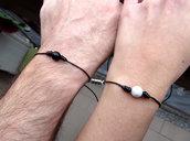 Coppia Bracciali magnetici, bracciale a cordino nero per coppie innamorati con perle regolabili semplice minimal , idea regalo