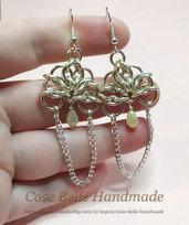 Orecchini eleganti romantici pendenti in rame placcato argento