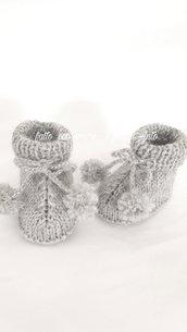 Scarpine stivaletto neonato in pura lana 100% lavorate a mano