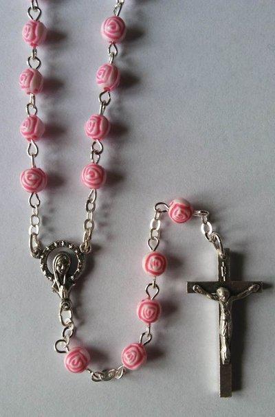 M435-Rosari grani Roselline Rosa 5mm