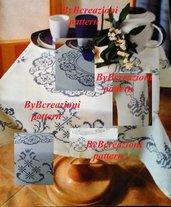 Schema punto croce bordo blu per tovaglia PDF download cross stitch Italy