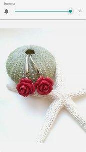 Orecchini rosa rossa piccoli