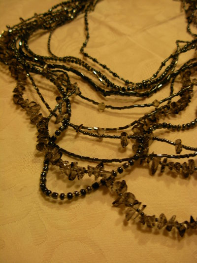 collana lunga grigio ematite